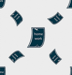 Homework icon sign seamless pattern with geometric vector