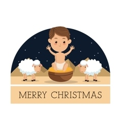 Baby jesus icon merry christmas design vector