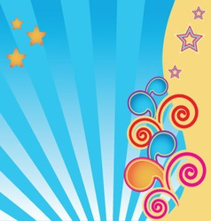 Abstract background with stars and swirls vector
