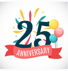 Anniversary 25 years template with ribbon vector