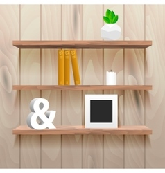 Book shelves in room interior with decor vector image