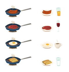 Breakfast pan set vector