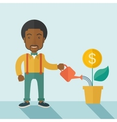Business person watering a growing plant vector