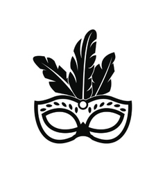 Carnival mask with feathers icon simple style vector