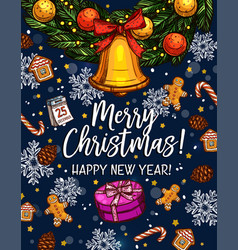 Christmas new year sketch greeting card vector