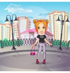 city promenade with a teen girl in jeans vector image
