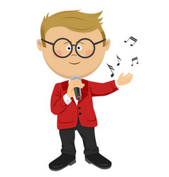cute nerd little boy sings with a microphone vector image vector image