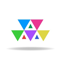 Design logo of the colorful triangles vector image vector image