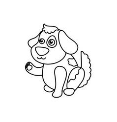 Dog cartoon drawing sitting vector