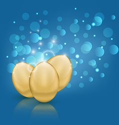 Easter card with golden eggs vector image vector image