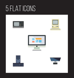 Flat icon computer set of display processor pc vector