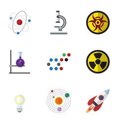 Flat icon study set of milky way flask lightbulb vector