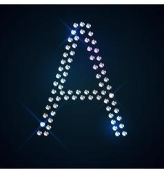 Gems a letter shiny diamond font vector