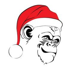 Head evil monkey in santa hats vector