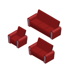 isometric sofa and armchair set vector image