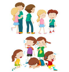 Kids in different emotions vector