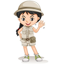 Little girl in camping costume vector