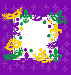 mardi gras elegant purple frame place for text vector image
