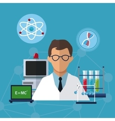 Medical scientist experiment laboratory solution vector