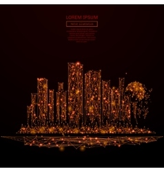 Megalopolis low poly red fire vector image vector image