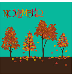 November graphic with trees vector