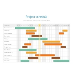 Project schedule chart overview planning timeline vector