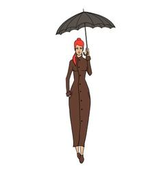 Redhead woman in coat with umbrella vector image