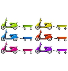 Scooters and wagon in different colors vector