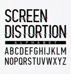 Screen distortion alphabet vector image vector image