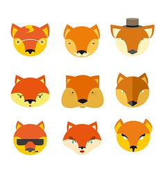 Set foxes muzzle different nature vector image vector image