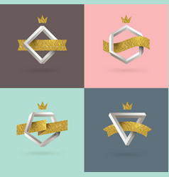 set of abstract emblem with impossible shape vector image