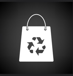 Shopping bag with recycle sign icon vector