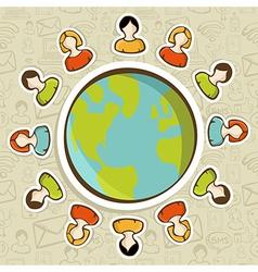 Social media teamwork world concept vector image vector image
