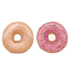 Two donuts one simple the other with a pink fil vector