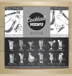 vintage chalk drawing flat cocktail menu design vector image vector image