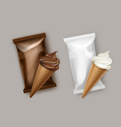 White chocolate ice cream waffle cone wrapper vector