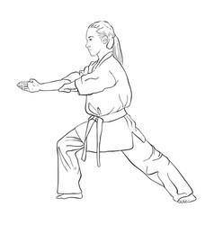 Young karate girl vector