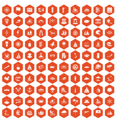 100 sailing vessel icons hexagon orange vector