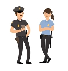 Policeman and Policewoman in Uniform vector image