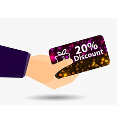 Coupon for a 20-percent discount in the hand vector