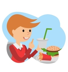 Little boy with fast food in his hands vector image