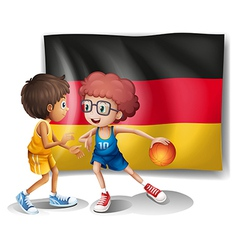 The flag of germany with the two athletes vector