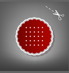 round biscuit sign  red icon with for vector image