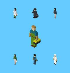 Isometric human set of detective girl pedagogue vector