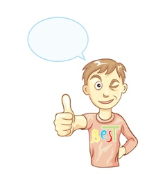 Boy with thumbs up vector