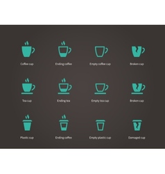 Set coffee cups icons vector