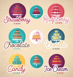 Birthday and wedding cakes in vintage style vector