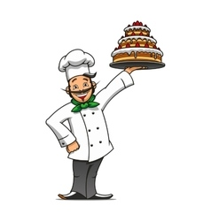 Cartoon french chef with chocolate cake vector