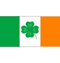 Irish Flag With Lucky Shamrock vector image