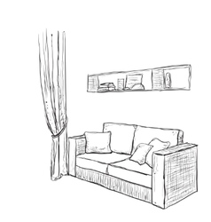Hand drawn sofa sketch vector